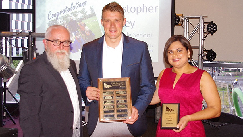 Pictured is Peter Bush, President PASS; Christopher Goaley; Tania Evanns, Bank First Relationship Officer.